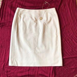 Alex Marie Cream Striped Pencil Skirt